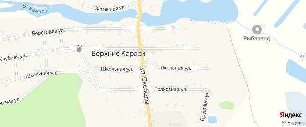 Колхозная улица на карте деревни Верхние Караси с номерами домов