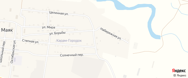 Зеленый переулок на карте поселка Маяка с номерами домов