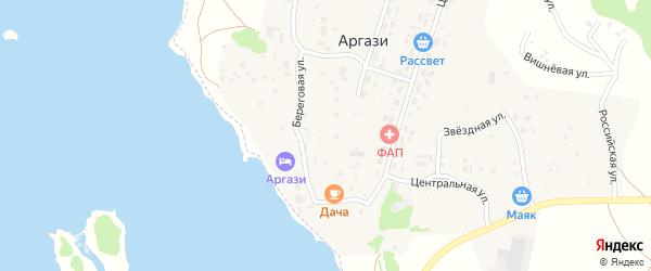Центральная улица на карте поселка Аргази с номерами домов