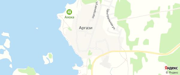 Карта поселка Аргази в Челябинской области с улицами и номерами домов