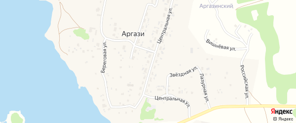Лазурная улица на карте поселка Аргази с номерами домов