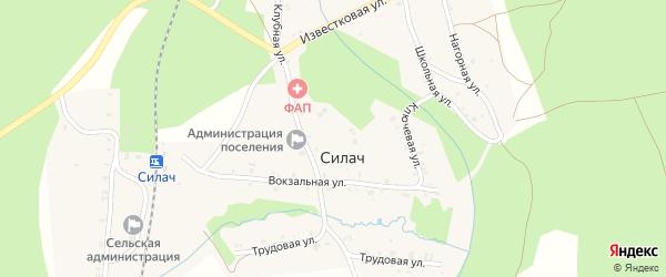 Клубная улица на карте поселка Силача с номерами домов