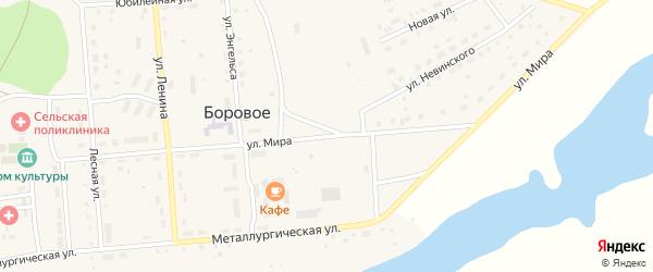 Улица Мира на карте Борового села с номерами домов
