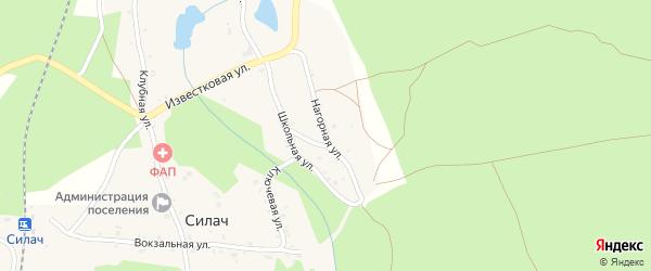 Нагорная улица на карте поселка Силача с номерами домов