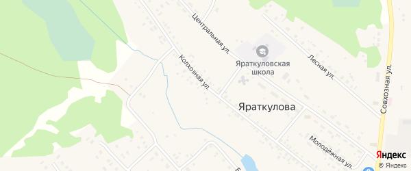 Колхозная улица на карте деревни Яраткулова с номерами домов