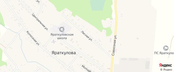 Лесная улица на карте деревни Яраткулова с номерами домов