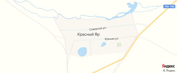 Карта поселка Красного Яра в Челябинской области с улицами и номерами домов