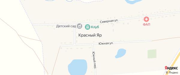 Южная улица на карте поселка Красного Яра с номерами домов