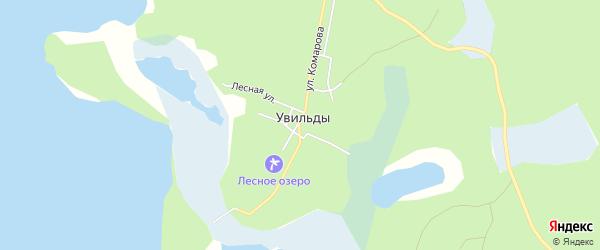 Карта поселка Увильды города Кыштыма в Челябинской области с улицами и номерами домов