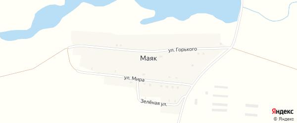Зеленая улица на карте поселка Маяка с номерами домов
