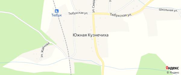 Железнодорожная улица на карте поселка Южной Кузнечихи с номерами домов