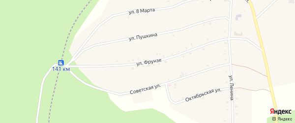 Улица Фрунзе на карте Северного поселка с номерами домов