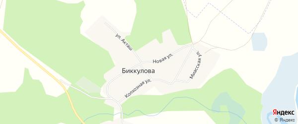 Карта деревни Биккулова в Челябинской области с улицами и номерами домов