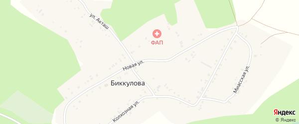 Улица Акташ на карте деревни Биккулова с номерами домов