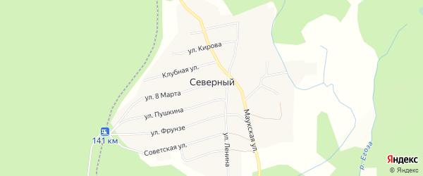Карта Северного поселка города Кыштыма в Челябинской области с улицами и номерами домов
