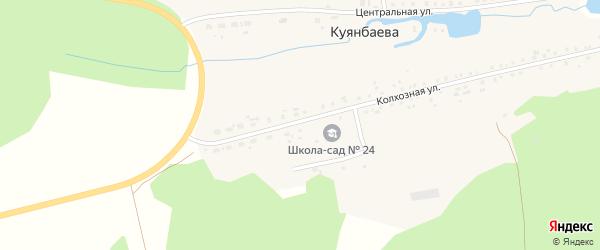 Колхозная улица на карте деревни Куянбаева с номерами домов