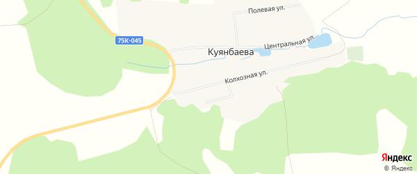 Карта деревни Куянбаева в Челябинской области с улицами и номерами домов