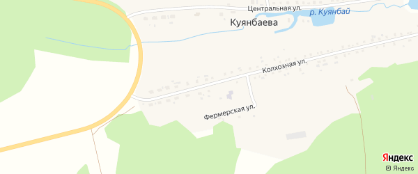 Центральная улица на карте деревни Куянбаева с номерами домов