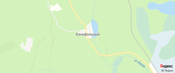 Карта Канифольного поселка города Кыштыма в Челябинской области с улицами и номерами домов