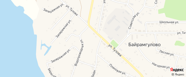 Заовражная улица на карте села Байрамгулово с номерами домов