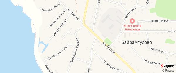 Набережная улица на карте села Байрамгулово с номерами домов