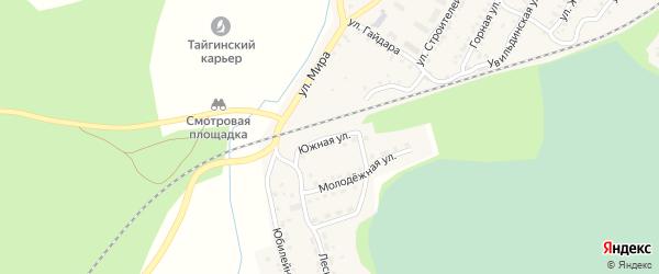Южная улица на карте поселка Тайгинки с номерами домов