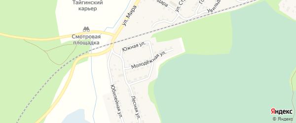 Молодежная улица на карте поселка Тайгинки с номерами домов