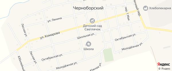 Школьная улица на карте Черноборского поселка с номерами домов
