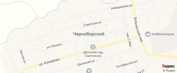 Торговый переулок на карте Черноборского поселка с номерами домов