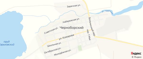 Карта Черноборского поселка в Челябинской области с улицами и номерами домов