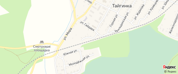 Ключевая улица на карте поселка Тайгинки с номерами домов