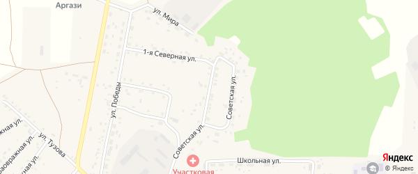 Советская улица на карте села Байрамгулово с номерами домов