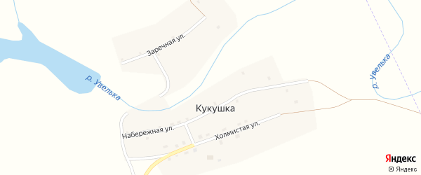 Холмистая улица на карте села Кукушки с номерами домов