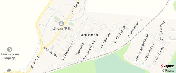 Заречная улица на карте поселка Тайгинки с номерами домов