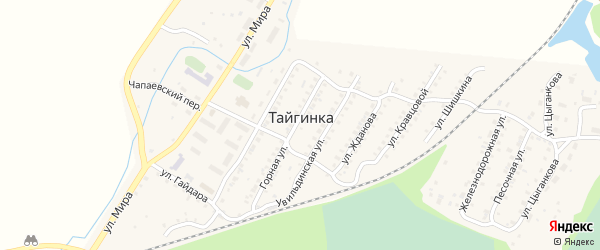 Переулок Мира на карте поселка Тайгинки с номерами домов