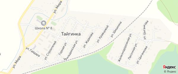 Улица Жданова на карте поселка Тайгинки с номерами домов
