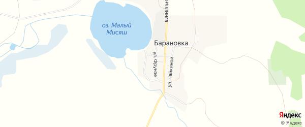 Карта деревни Барановки в Челябинской области с улицами и номерами домов