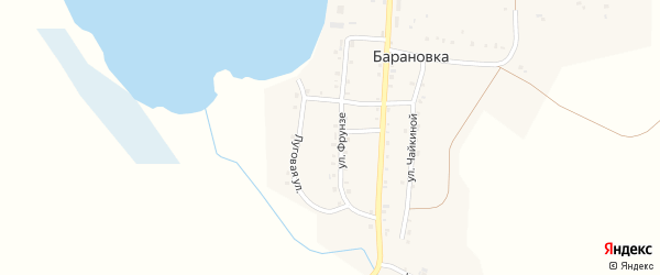 Луговая улица на карте деревни Барановки с номерами домов