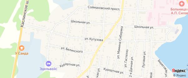 Улица Кутузова на карте Кыштыма с номерами домов