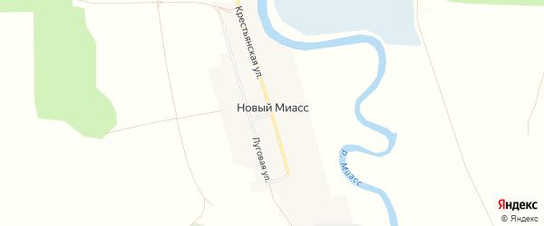Карта деревни Нового Миасса в Челябинской области с улицами и номерами домов