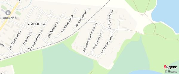Железнодорожная улица на карте поселка Тайгинки с номерами домов