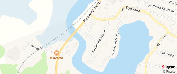 Пионерский 2-й переулок на карте Кыштыма с номерами домов