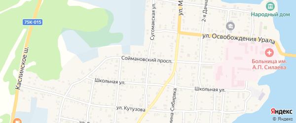 Сугомакская улица на карте Кыштыма с номерами домов