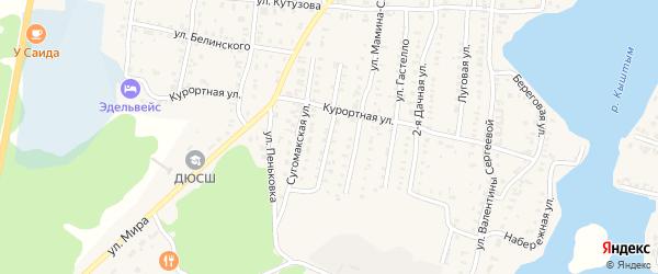 Улица Зои Космодемьянской на карте Кыштыма с номерами домов