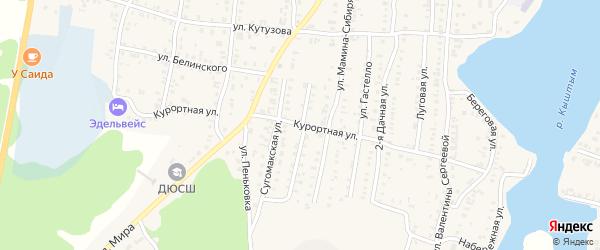 Курортная улица на карте Кыштыма с номерами домов