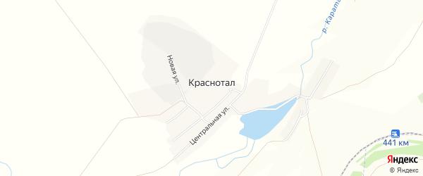 Карта поселка Краснотала в Челябинской области с улицами и номерами домов