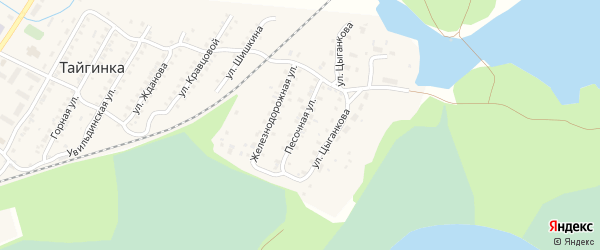 Песочная улица на карте поселка Тайгинки с номерами домов
