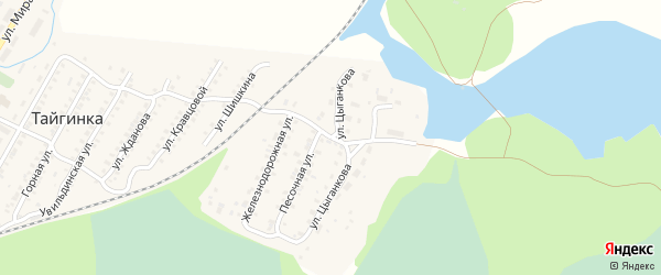 Улица Цыганкова на карте поселка Тайгинки с номерами домов