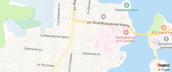 Дачная 2-я улица на карте Кыштыма с номерами домов