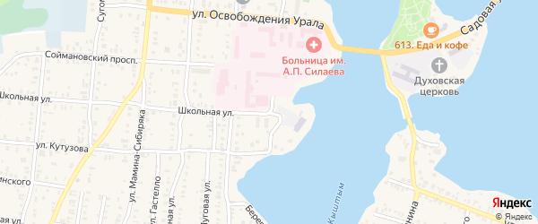 Береговая улица на карте Кыштыма с номерами домов